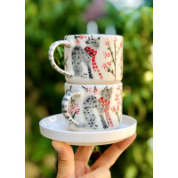 Cat Patterned Coffee Cup - 041021-9