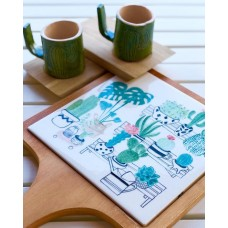 Cactus Patterned Wooden Cutting Plate - SR-19SRTRP002