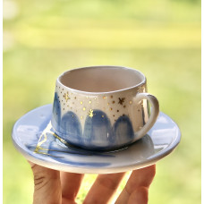 Gold / Blue Marble Coffee Cup - FN-20FNRNK139