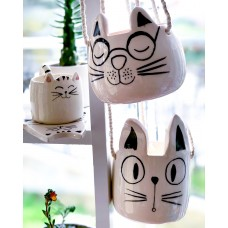 Cat with EyeGlasses Hanging Pot - SK-20SKHYV063