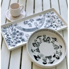 Black and White Patterned Tray - SR-19SRSB024