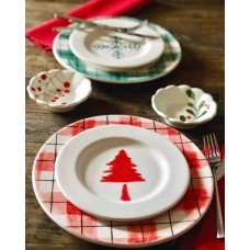 Red Green Patterned Plate Set - TB-19TBYLB016