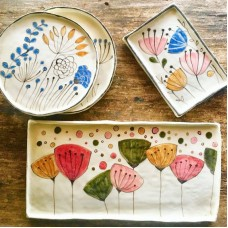 Flower Patterned Plate Set - TB-19TBTRP042